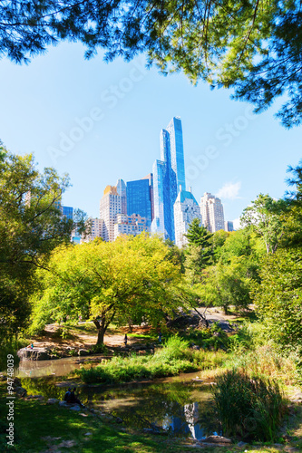 Poster Ansicht von Manhattan, New York City, vom Central Park