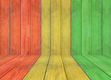 reggae colour and wooden floor texture Background