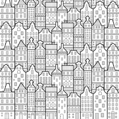 Amsterdam houses style pattern black and white