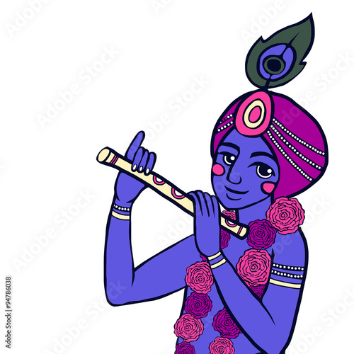 Krishna with floral wreath sits on the rock and plays the flute © Nata Savina