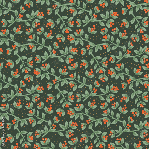 Cotton fabric Christmas red berries seamless pattern background. Vector illust
