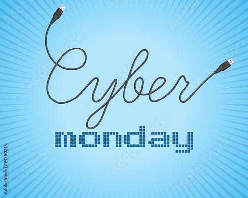 Digital promo text on a blue background for Cyber Monday.