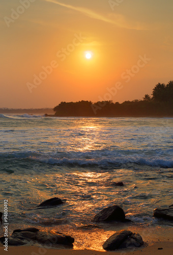beautiful landscape with tropical sea sunset