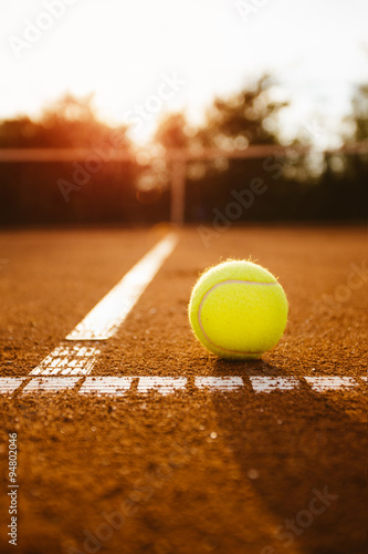 Tennis ball inside service box Poster