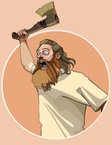 cartoon enraged man attacked with an ax in his hand poster