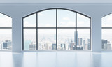 An empty modern bright and clean loft interior. Huge panoramic windows with New York city view. A concept of luxury open space for commercial or residential purposes. 3D rendering.