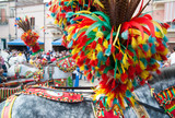 Typical ornaments on the horse a of sicilian cart made of colored plumage