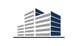 Simple Commercial Building in Line Logo Icon