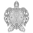 Drawing zentangle turtle for coloring page, shirt design effect, logo, tattoo and decoration.