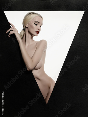Poster naked sexy girl in a triangle