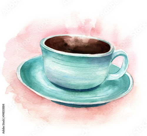 Vintage styled watercolor drawing of a cup of coffee - 94830884