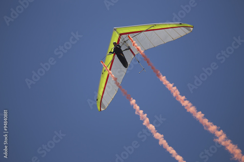 Fototapeta Hang glider during opening ceremony, July 4, Independence Day Parade, Telluride, Colorado, USA, 04.07.2014
