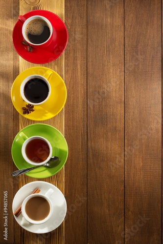 Poster  cup of tea, milk, coffee on wood