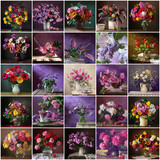 Collage from still lifes with bouquets. Flower background.