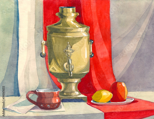 Obraz decorative watercolor still life in the classical Russian style