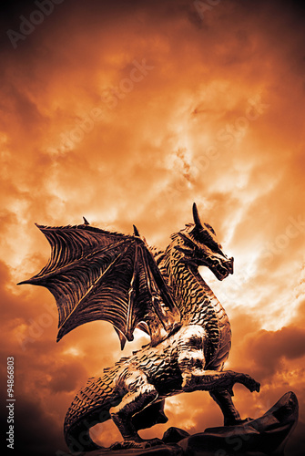 dragon in front of a dramatic sky Poster