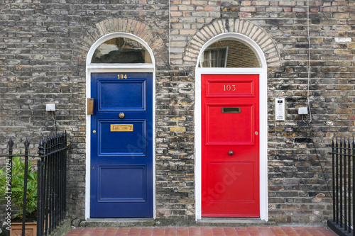Poster English blue and red front doors