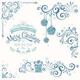 Ornate Merry Christmas Set Blue