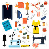 Sewing or tailoring flat icons and items