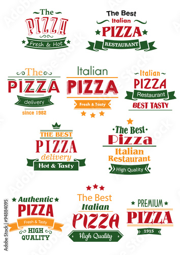 Fototapeta Tasty pizza headers and signboards set