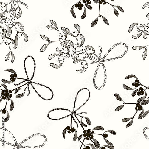 Cotton fabric Seamless  pattern with mistletoe. Black and white vector background.