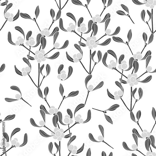 Cotton fabric Seamless  pattern with mistletoe. Monochrome vector background.