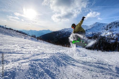 Poster Experte Snowboarder springen