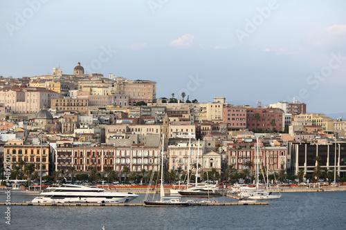 Aluminium Vista panoramica della città di Cagliari, Sardegna, Italia