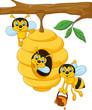 Obrazy na płótnie, fototapety, zdjęcia, fotoobrazy drukowane : Cartoon branch of a tree with a beehive and a bee