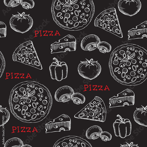 Fototapeta Seamless pizza pattern. Retro design. Vector illustration.