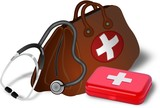 Doctors bag, stethoscope and medibox
