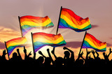 Silhouette of a parade of gays and lesbians
