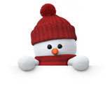 Fototapety Snowman with wooly hat holding blank board from above