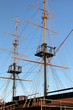 The masts and rigging of the tall ship