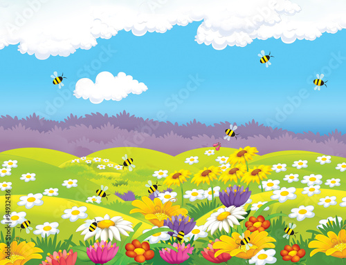 fototapeta na ścianę Happy cartoon meadow scene - illustration for the children