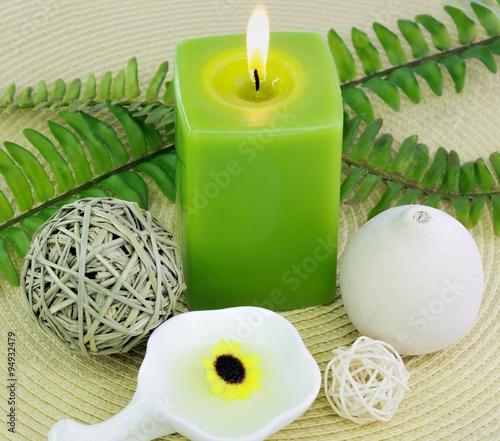 Spa treatment setting with green theme © Beautifulblossom
