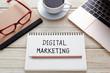 Digital marketing concept on office desk