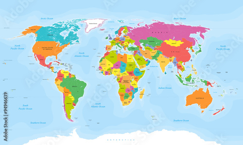 World map vector. English/US labels