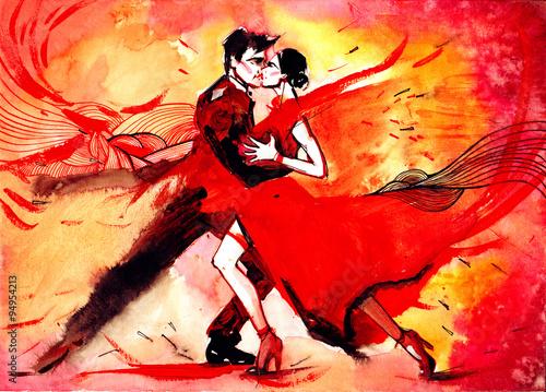 Spoed canvasdoek 2cm dik Schilderingen tango