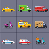 Fototapety Vector of various urban and city cars, vehicles