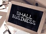 Handwritten Small Business on a Chalkboard.