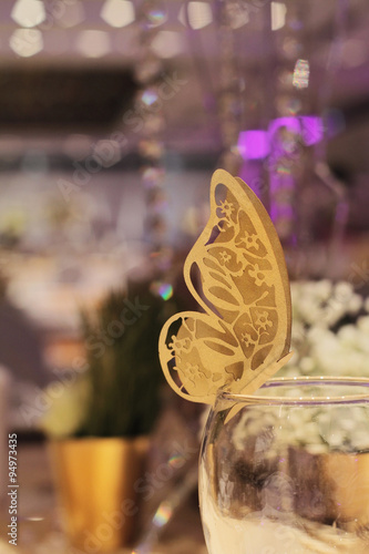 Paper Butterfly Decoration Golden Autumn Wedding Table