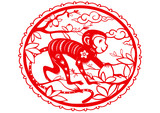 Monkey. Chinese symbol of 2016 New Year.