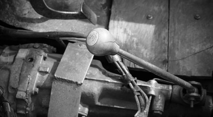 old car gear lever focus on the numbers.