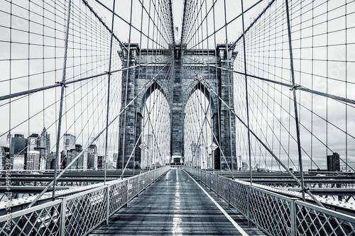 Noir et blanc pont de Brooklyn Poster