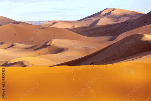 In de dag Oranje eclat Sand dune in the desert of Morocco
