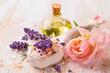 Leinwanddruck Bild - Spa still life with lavender and rose flower