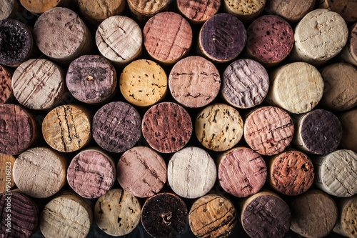Poster, Tablou Wine corks background close-up