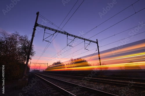 Train at the sunrise
