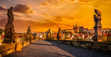 Charles bridge and Prague castleon sunrise
